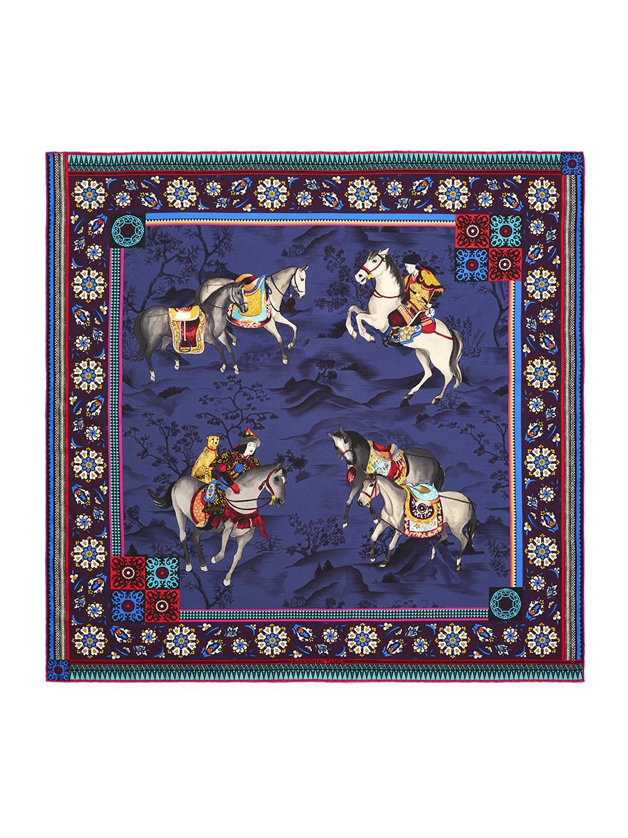 Mongolian Horsemen Print Silk Foulard 90
