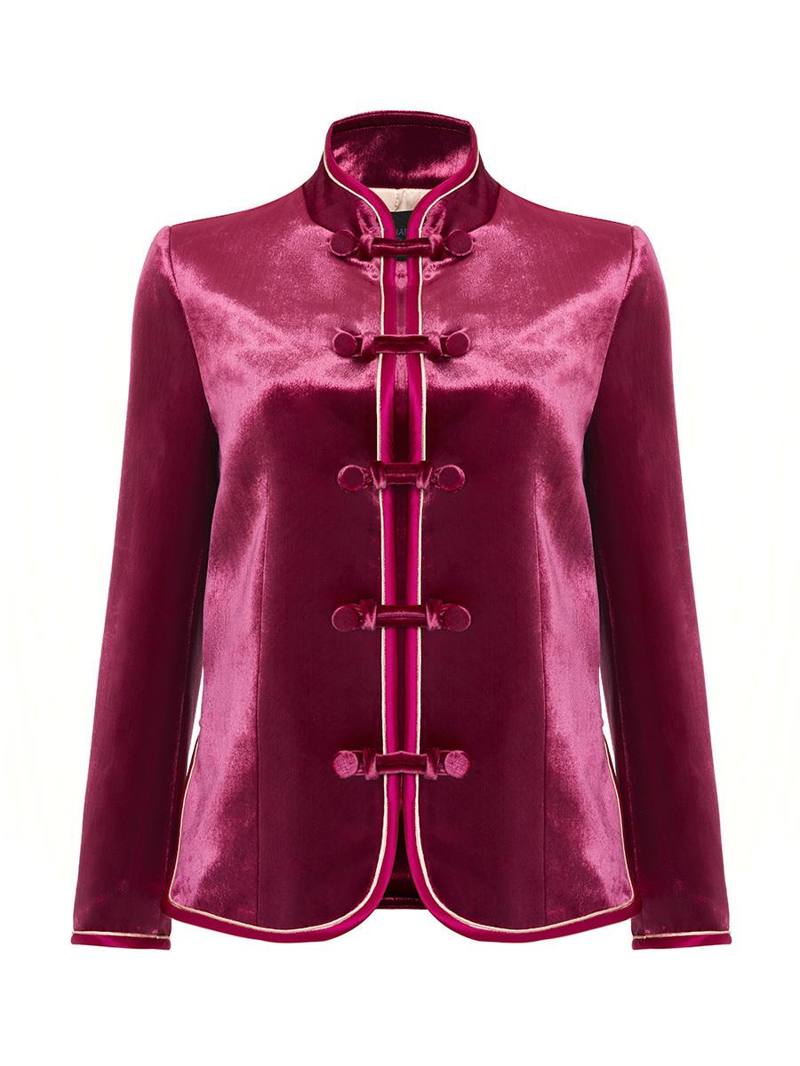 Mandarin Collar Velvet Jacket Nods
