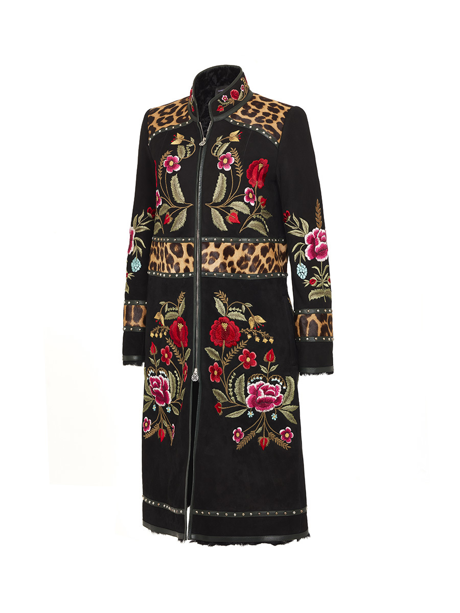 Embroidered Shearling Coat