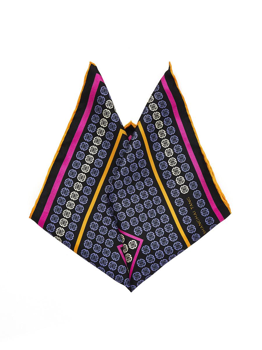 Geometrical Ornamental Print Silk Pocket Square