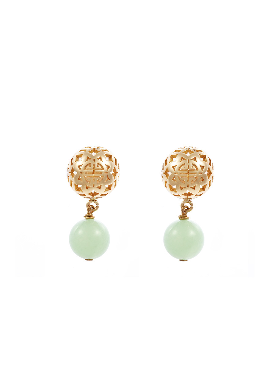 Sphere Earrings With Jade Pendant