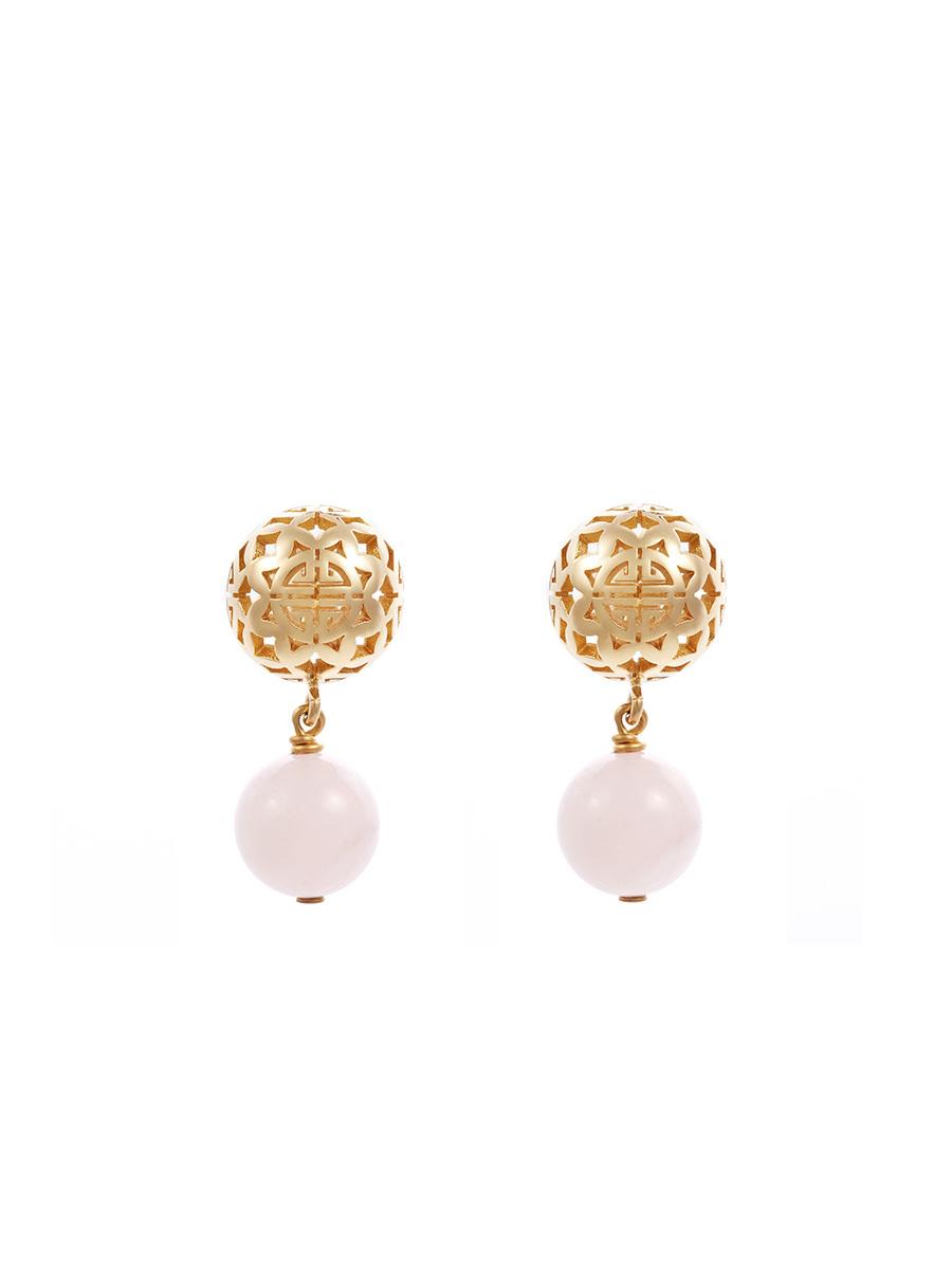 Sphere Earrings With Quartz Pendant