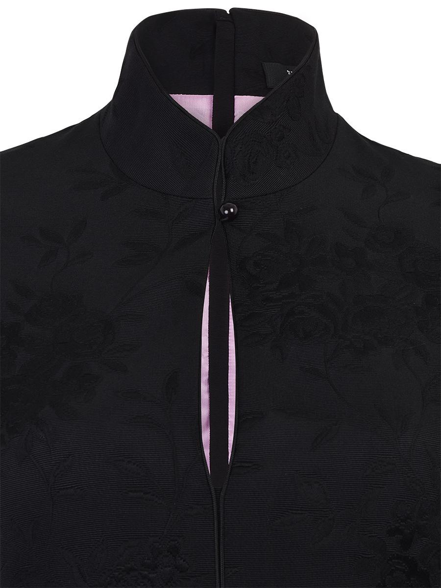Flower Jacquard Mandarin Collar Dress