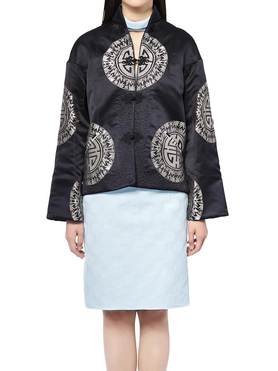 Mandarin Collar Silk Jacket