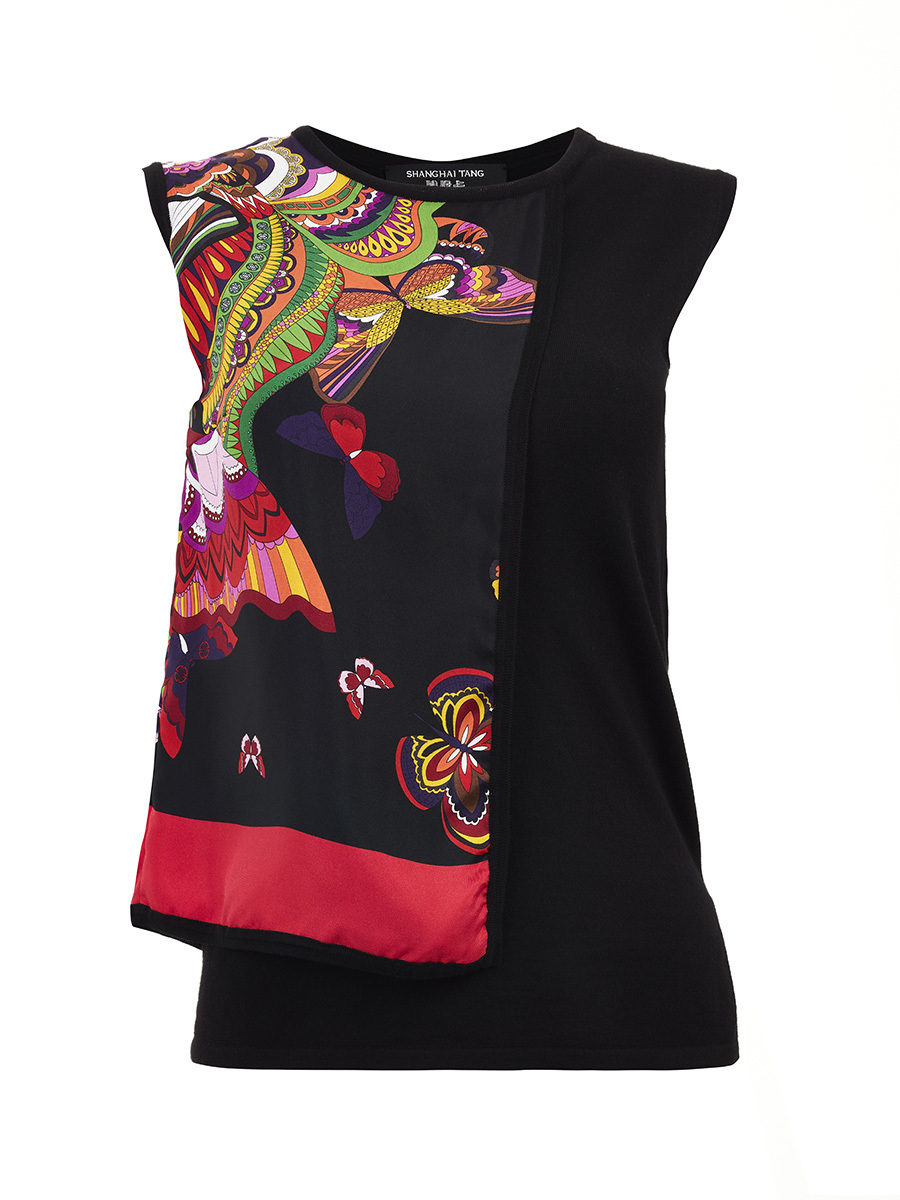 Silk Butterfly Print Panel Top