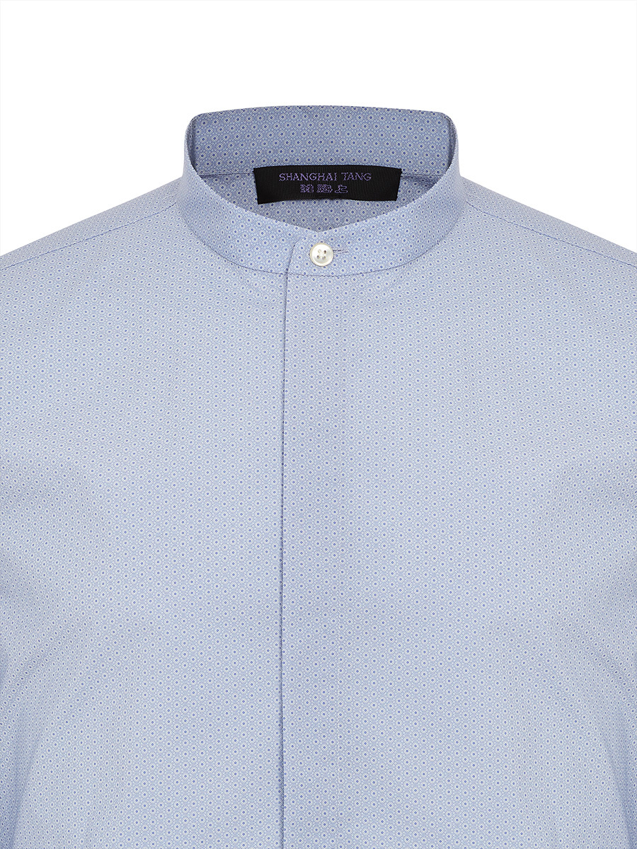 Ripple Print Band Collar Cotton Shirt