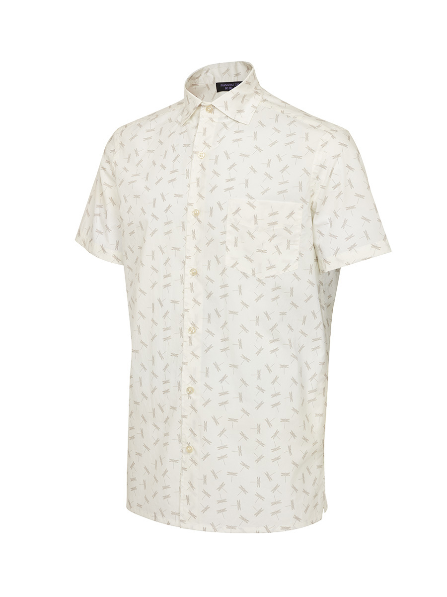 Dragonfly Print Short Sleeve Cotton Shirt