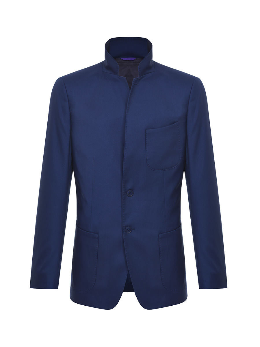 Stand Collar 2-button Wool Jacket