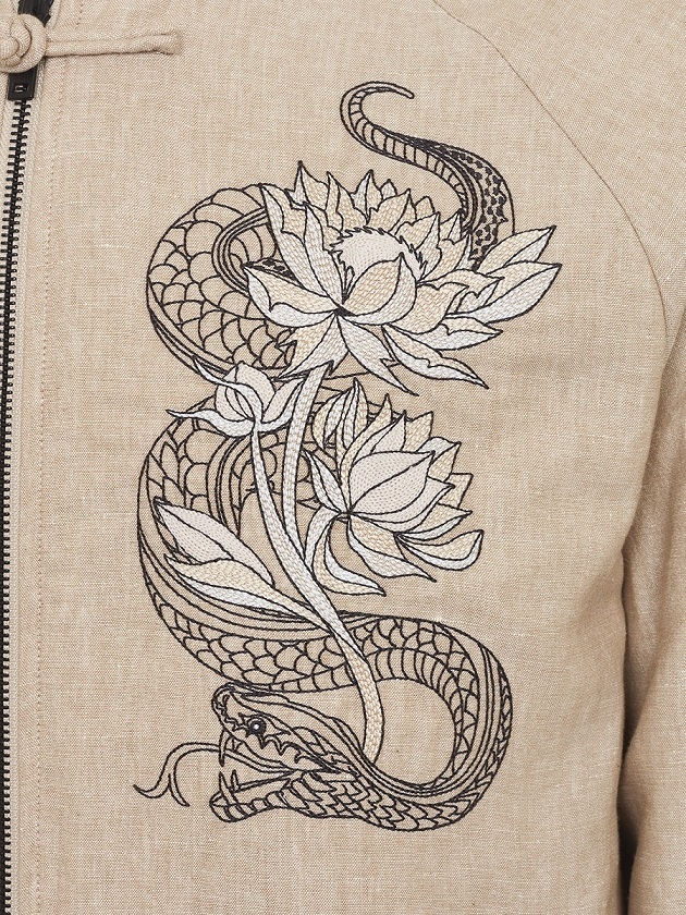 Tiger and Snake Embroidery Cotton-linen Bomber Jacket