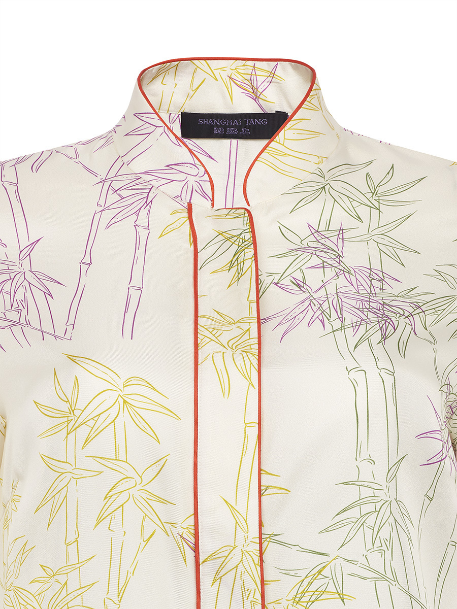 Silk Twill Shirt With Candy Bamboo Print