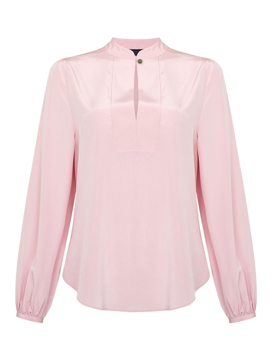 Jewel Button Mandarin Collar Silk Blouse