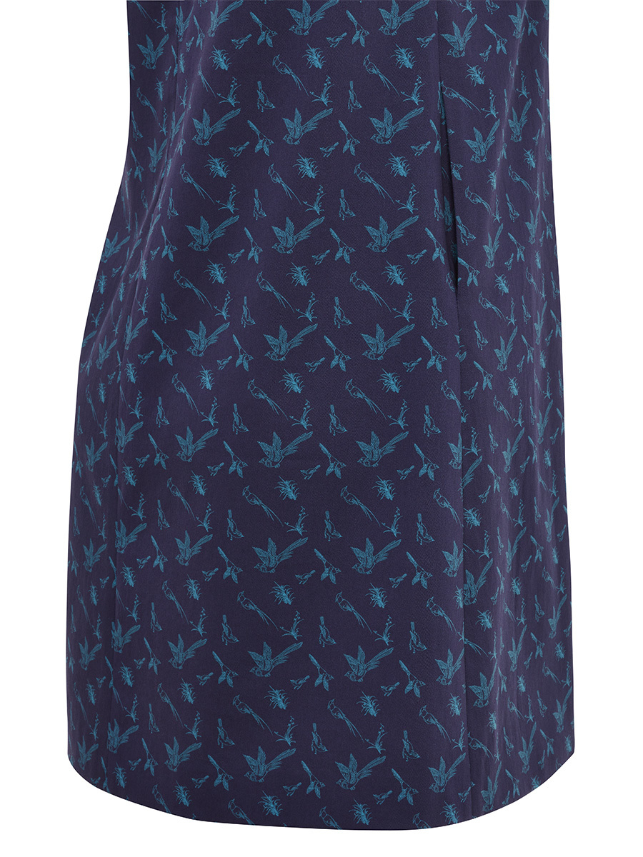 Bird Print Stretch Cotton A-line Dress