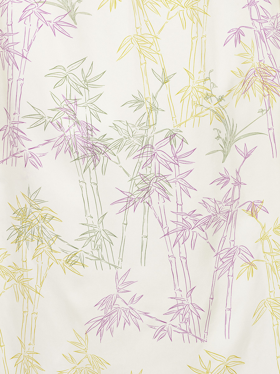 Long Silk Chemisier with Candy Bamboo Print