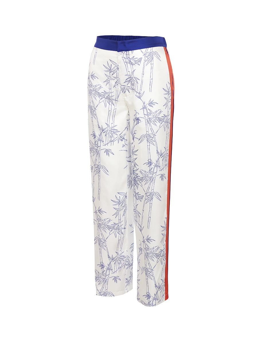 Silk Twill Pyjama Pants with Porcelain Bamboo Print