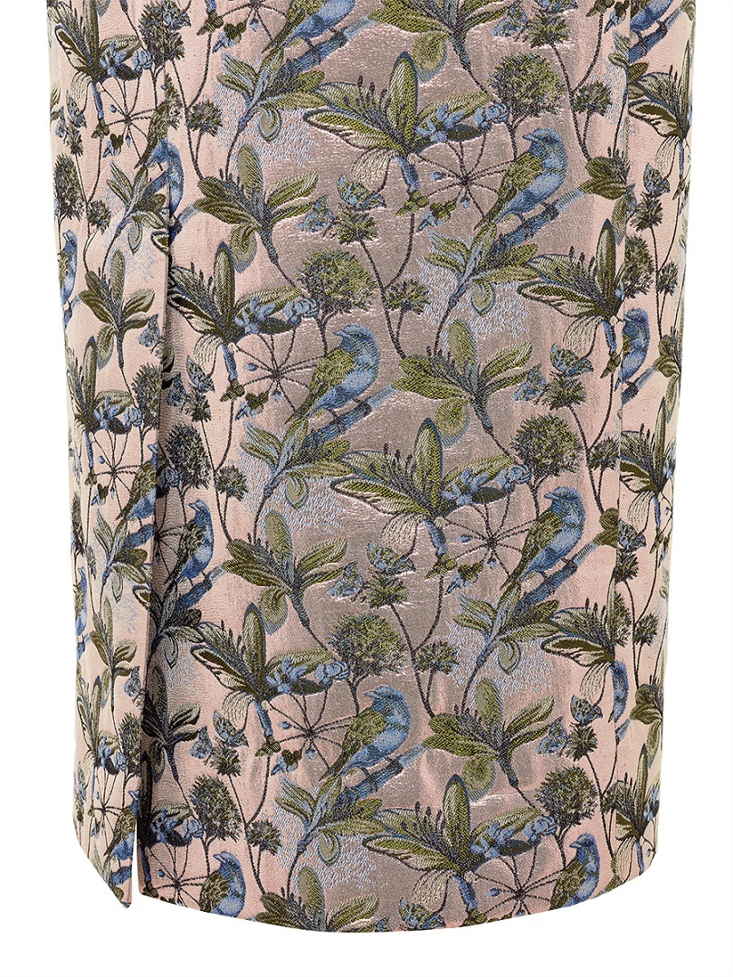 Bird and Floral Jacquard Pencil Skirt