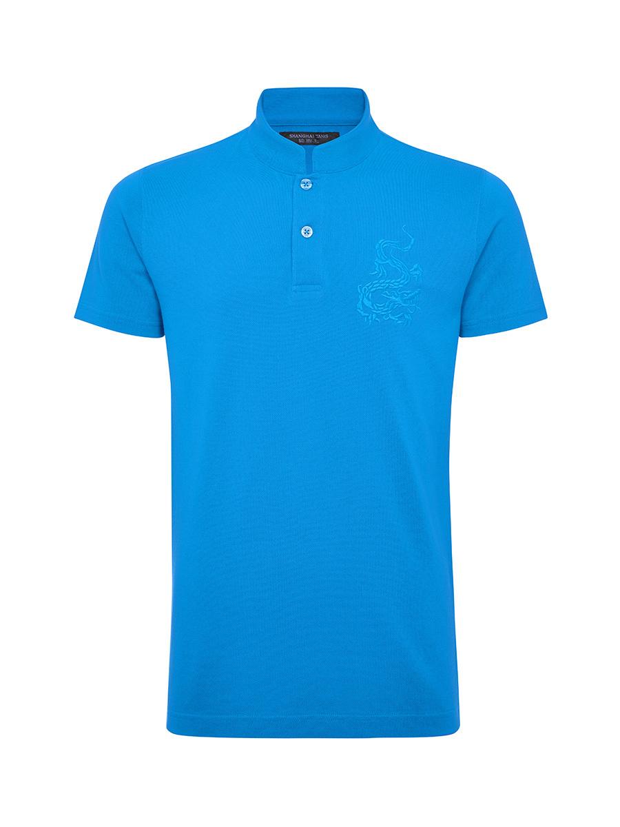 Dragon Embroidery Mandarin Collar Polo Shirt