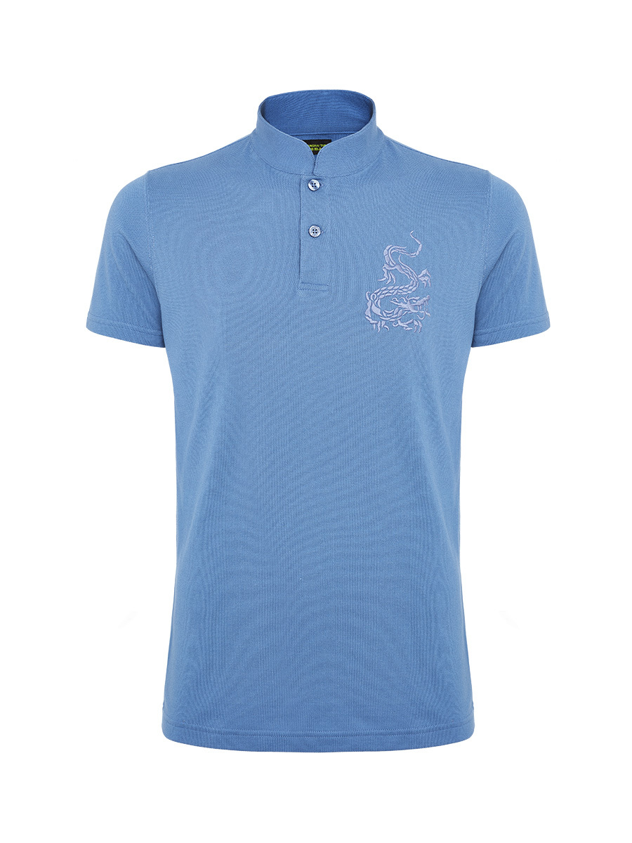 Dragon Embroidery Mandarin Collar Polo Shirt