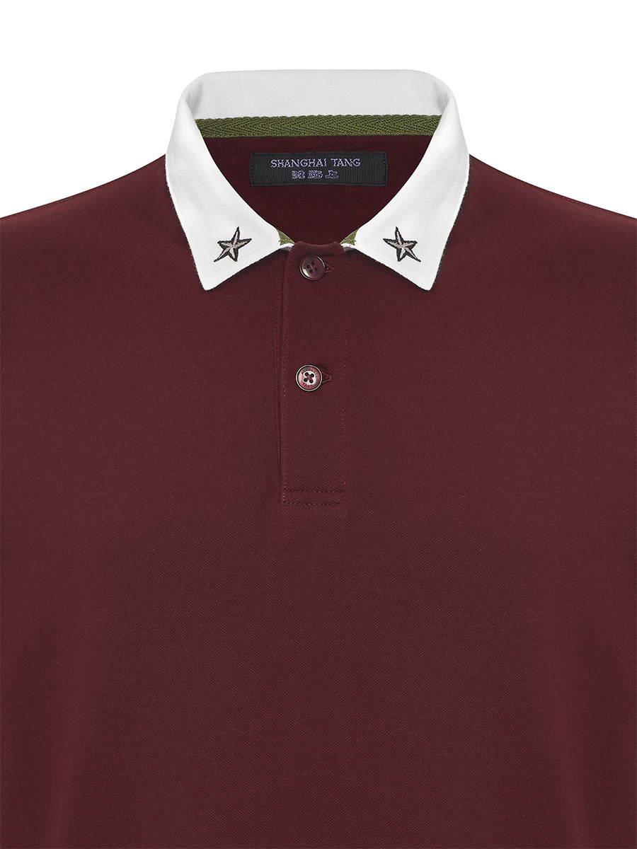 Star Embroidery Contrast Collar Polo Shirt