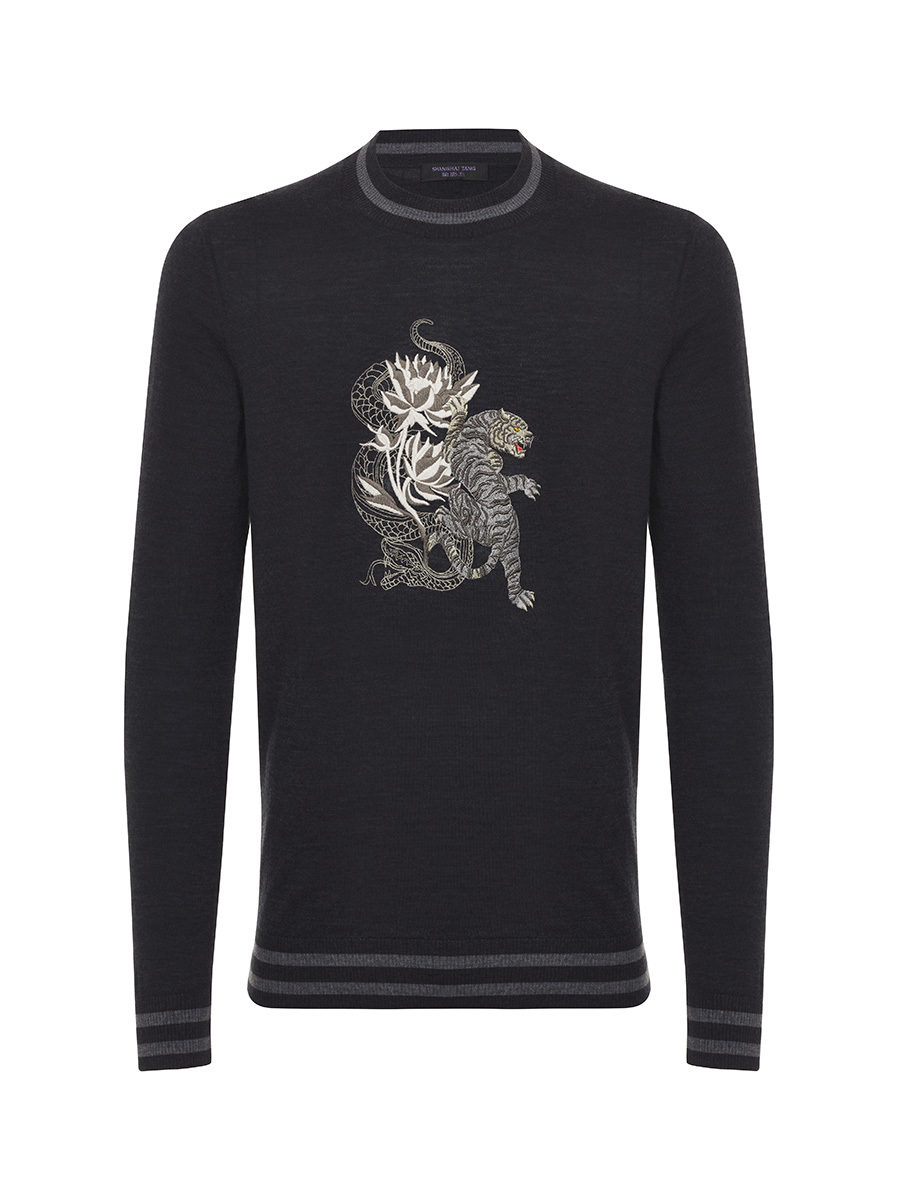 Tiger and Snake Embroidery Lightweight Wool Sweater
