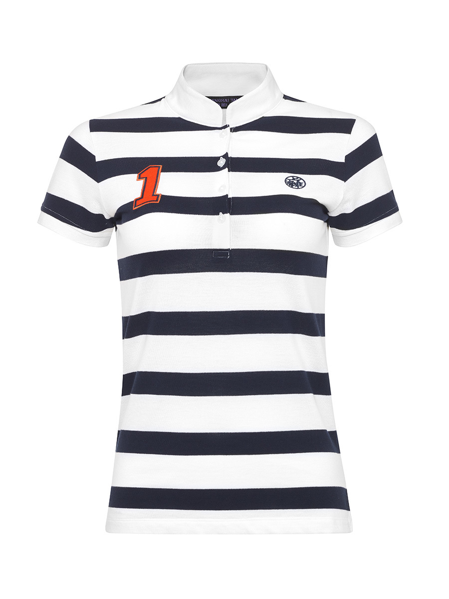 Striped Slim Fit Polo Shirt with Number and Motif Patch