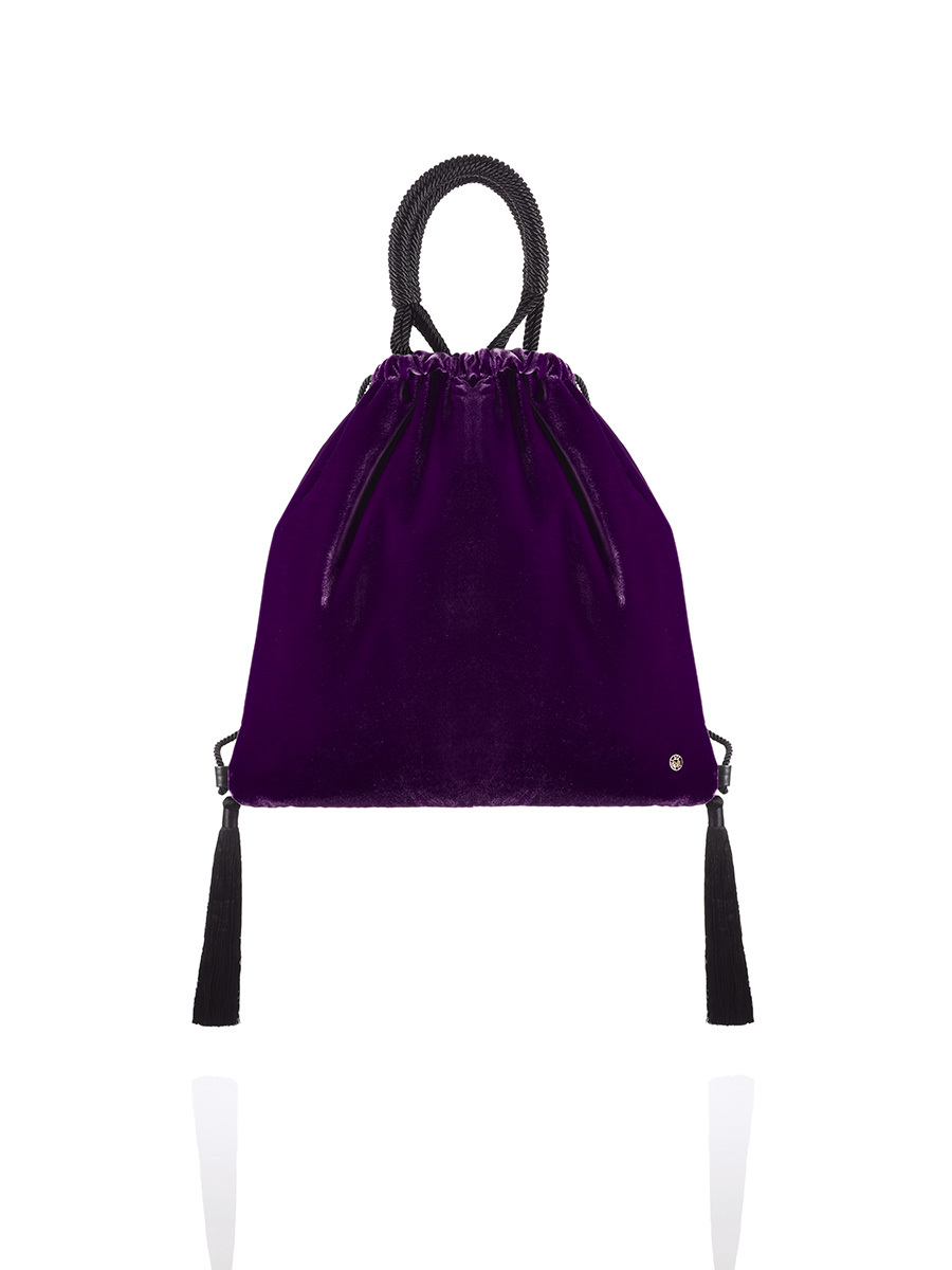 Velvet 2-way Drawstring Bag with Tassels