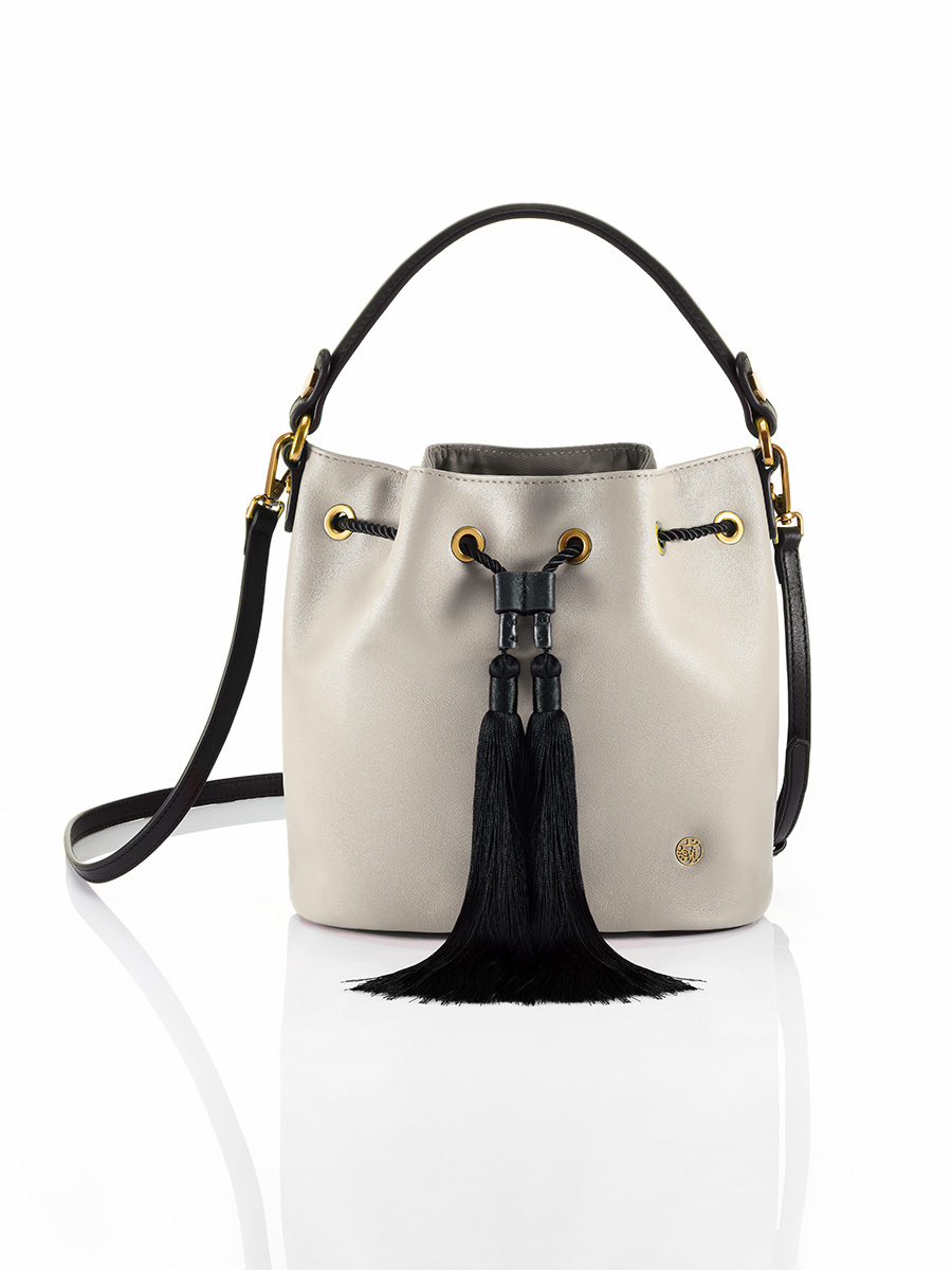 Small Leather Bucket Bag with Tassels