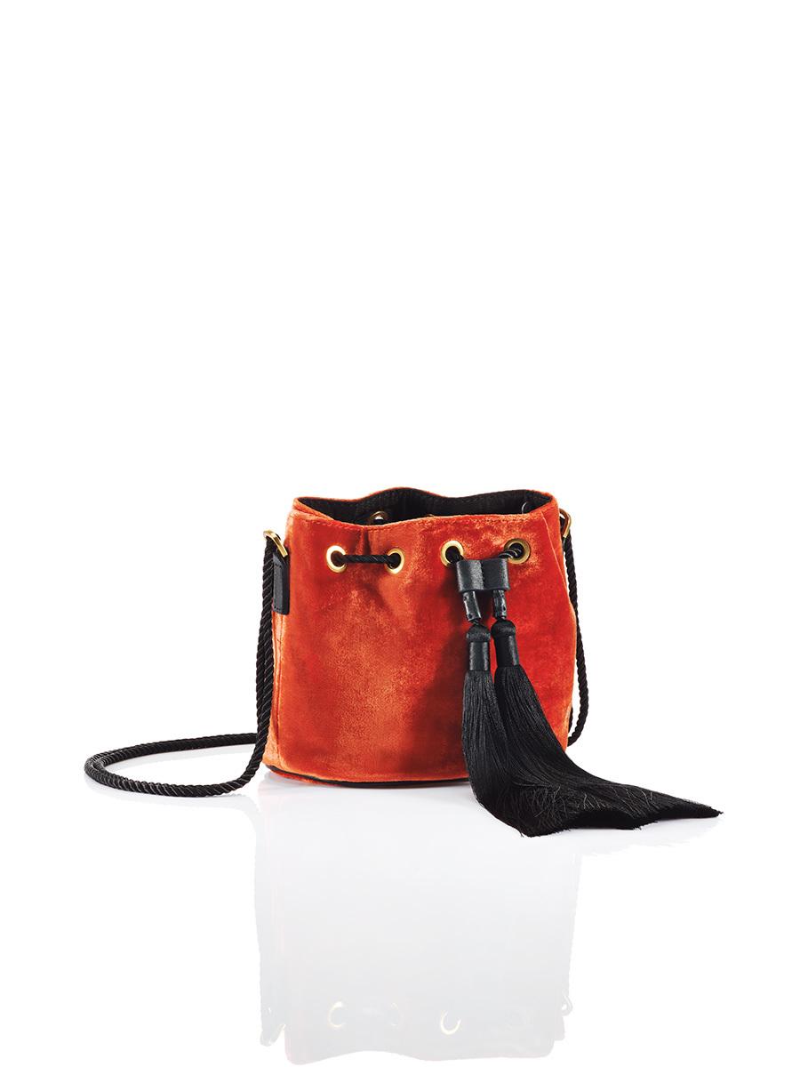 Mini Velvet Bucket Bag with Tassels