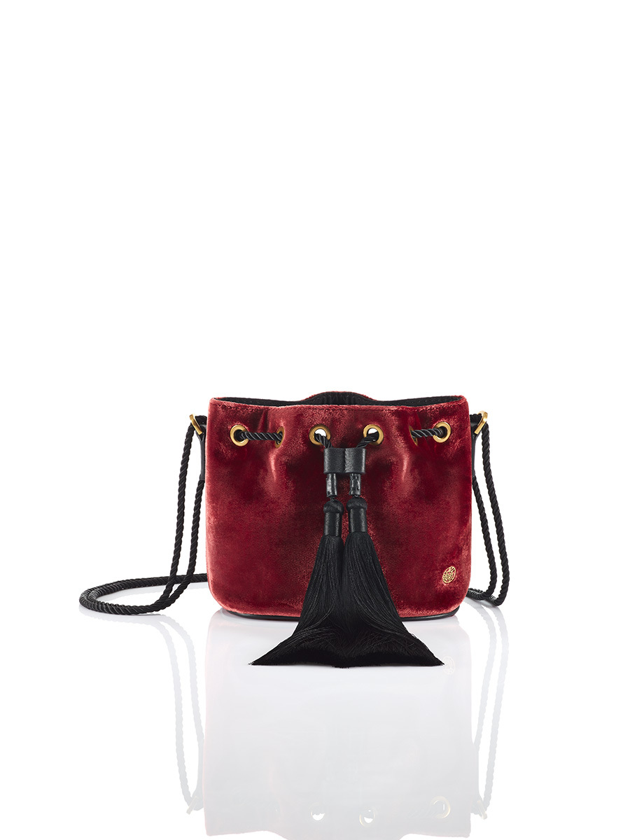 Mini Velvet Bucket Bag with Tassels