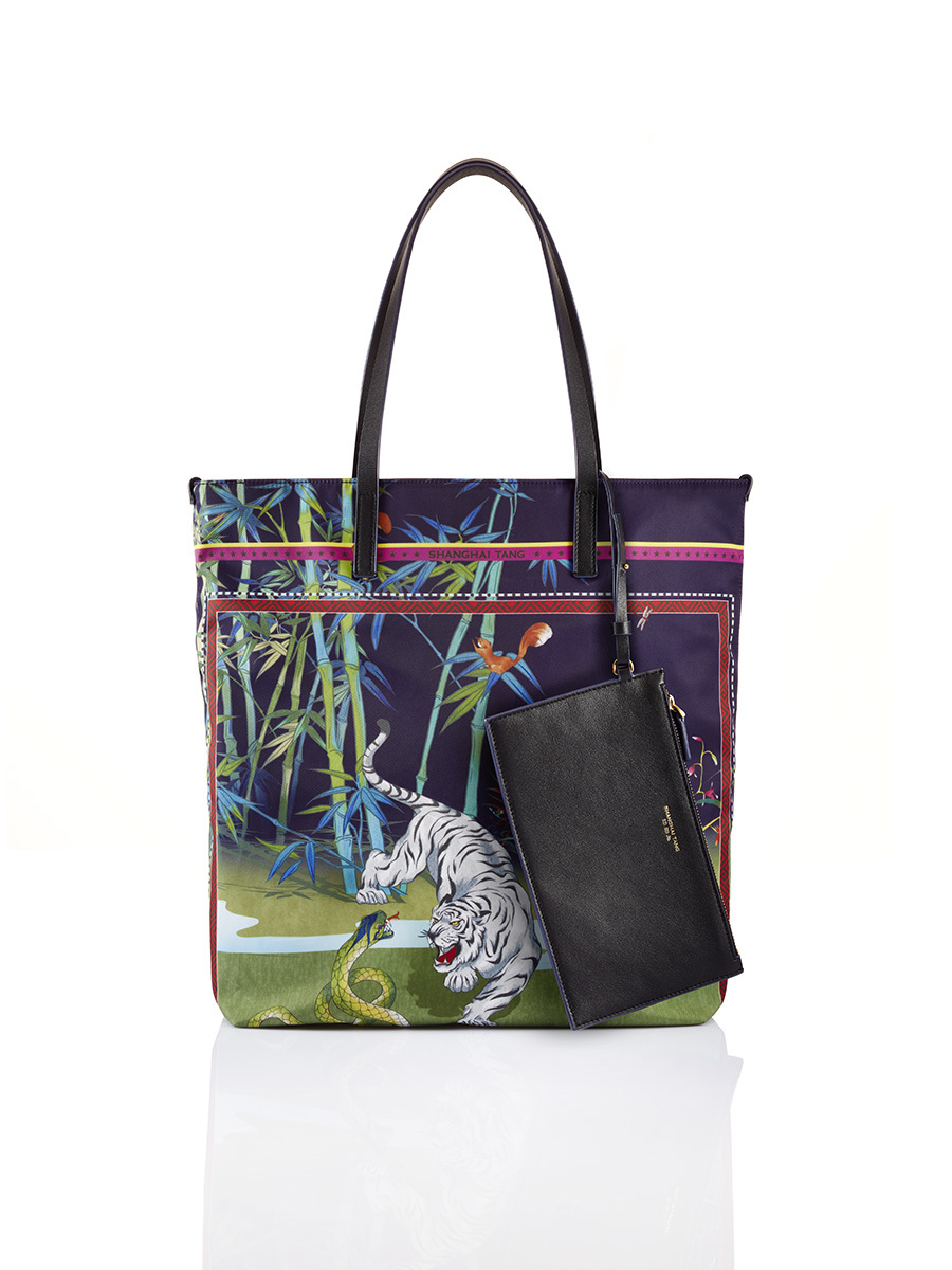 Chinese Landscape Print Shopper Tote – Tiger and Snake