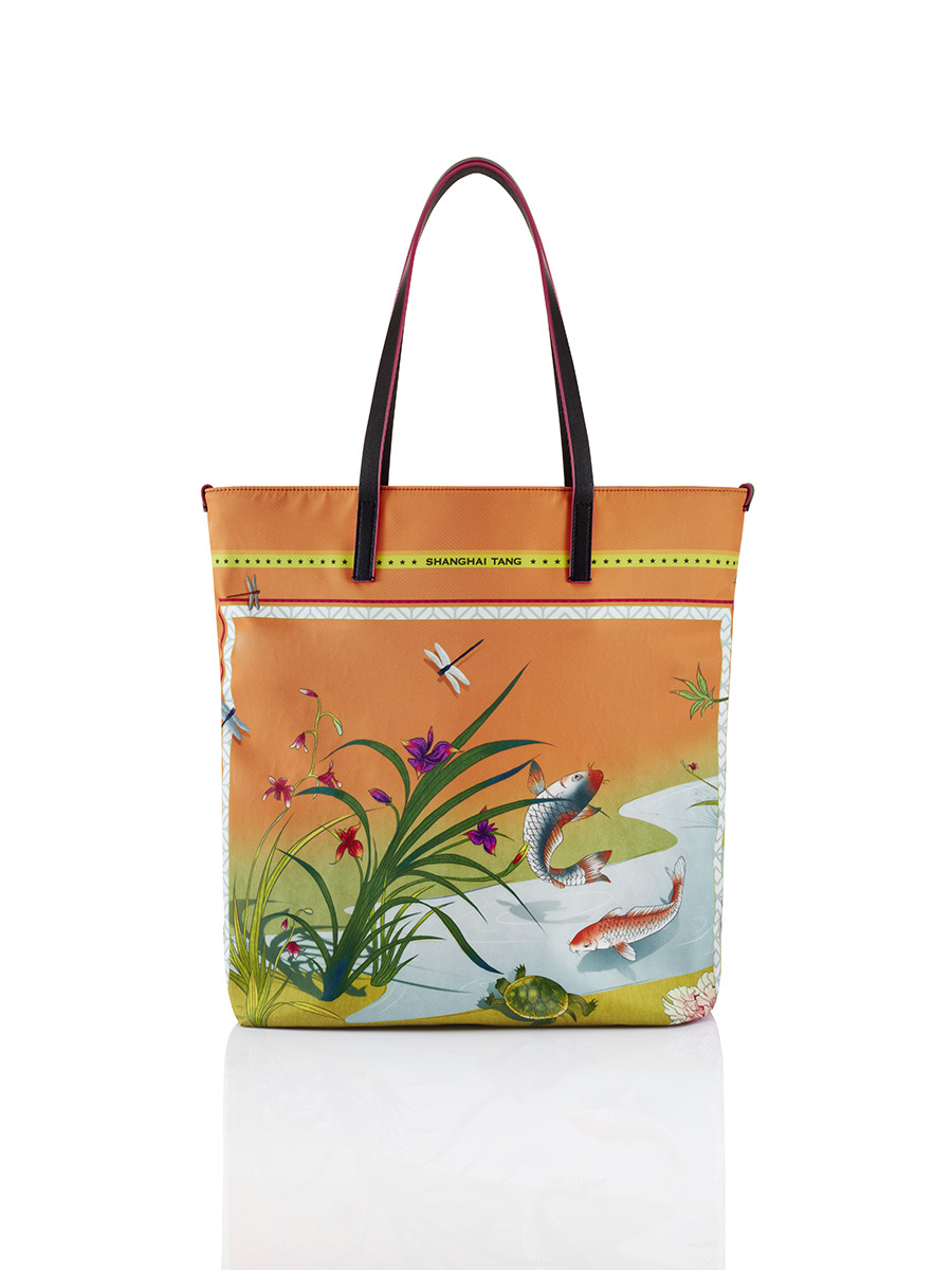 Chinese Landscape Print Shopper Tote – Koi and Turtle
