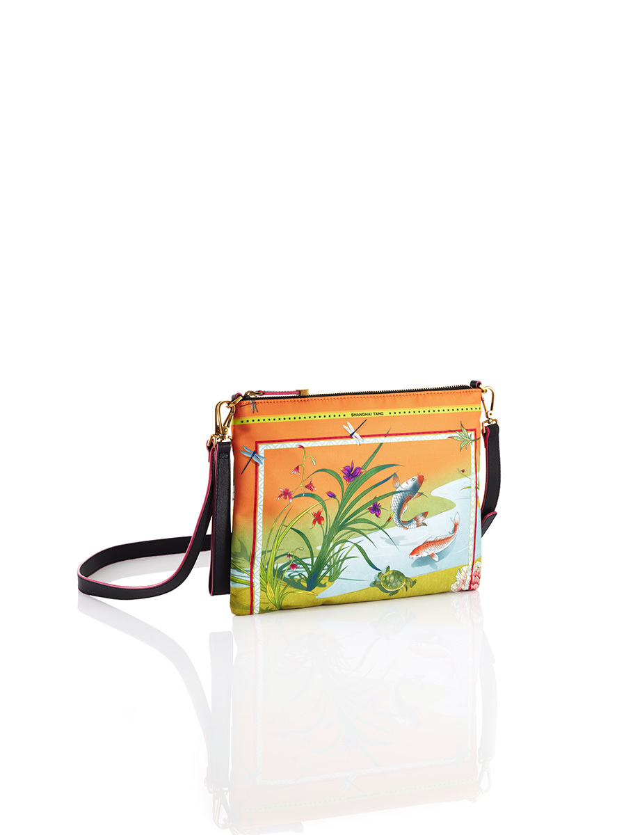 Chinese Landscape Print 2-way Clutch – Koi and Turtle