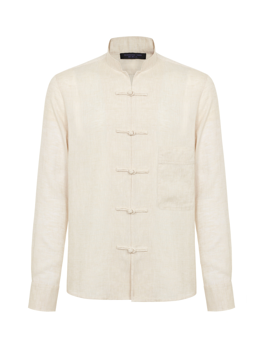 Linen Tang Shirt Jacket with Frog Buttons