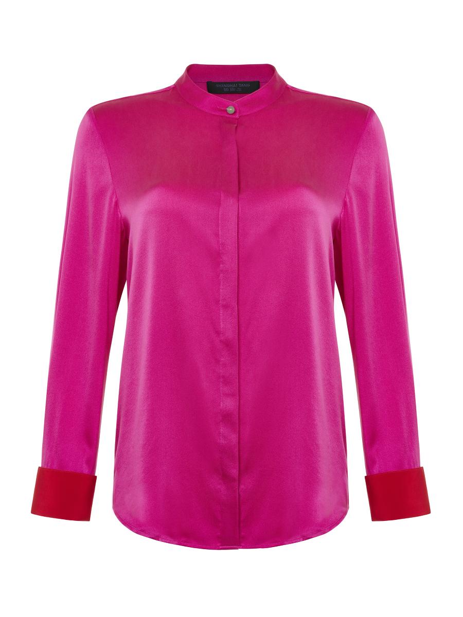 Jewel Button Sandwashed Silk Shirt