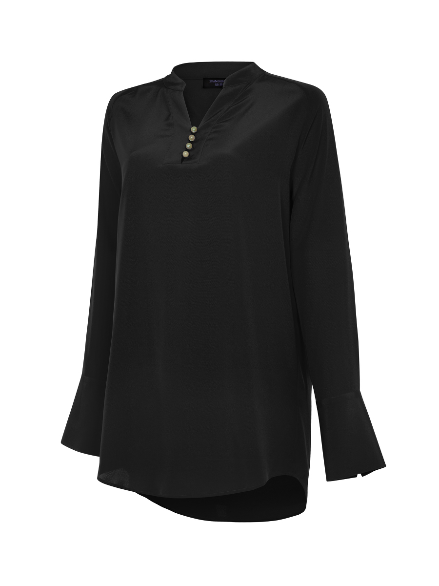 Jewel Button Silk Crepe Blouse