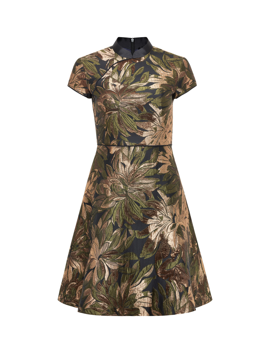 Metallic Floral Jacquard Skater Dress