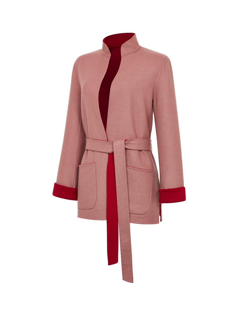 Reversible Double Wool Coat with Sash Belt