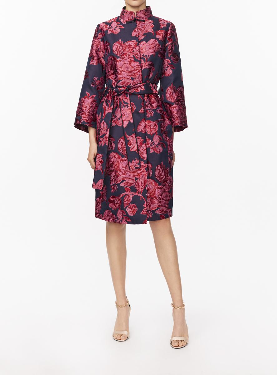 Peony Jacquard Mandarin Collar Kimono Jacket
