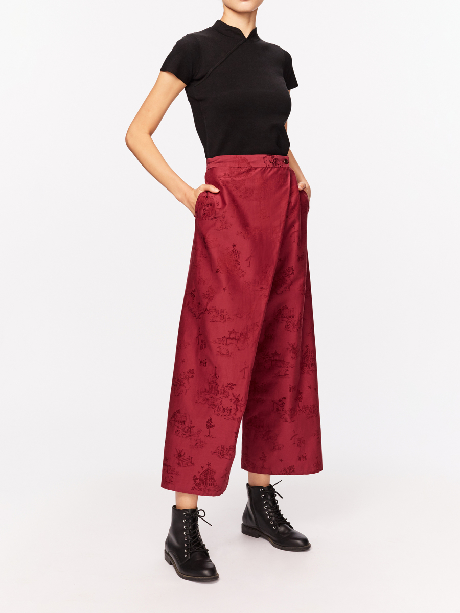 Chinoiserie Jacquard Wrap Front Kung Fu Pants