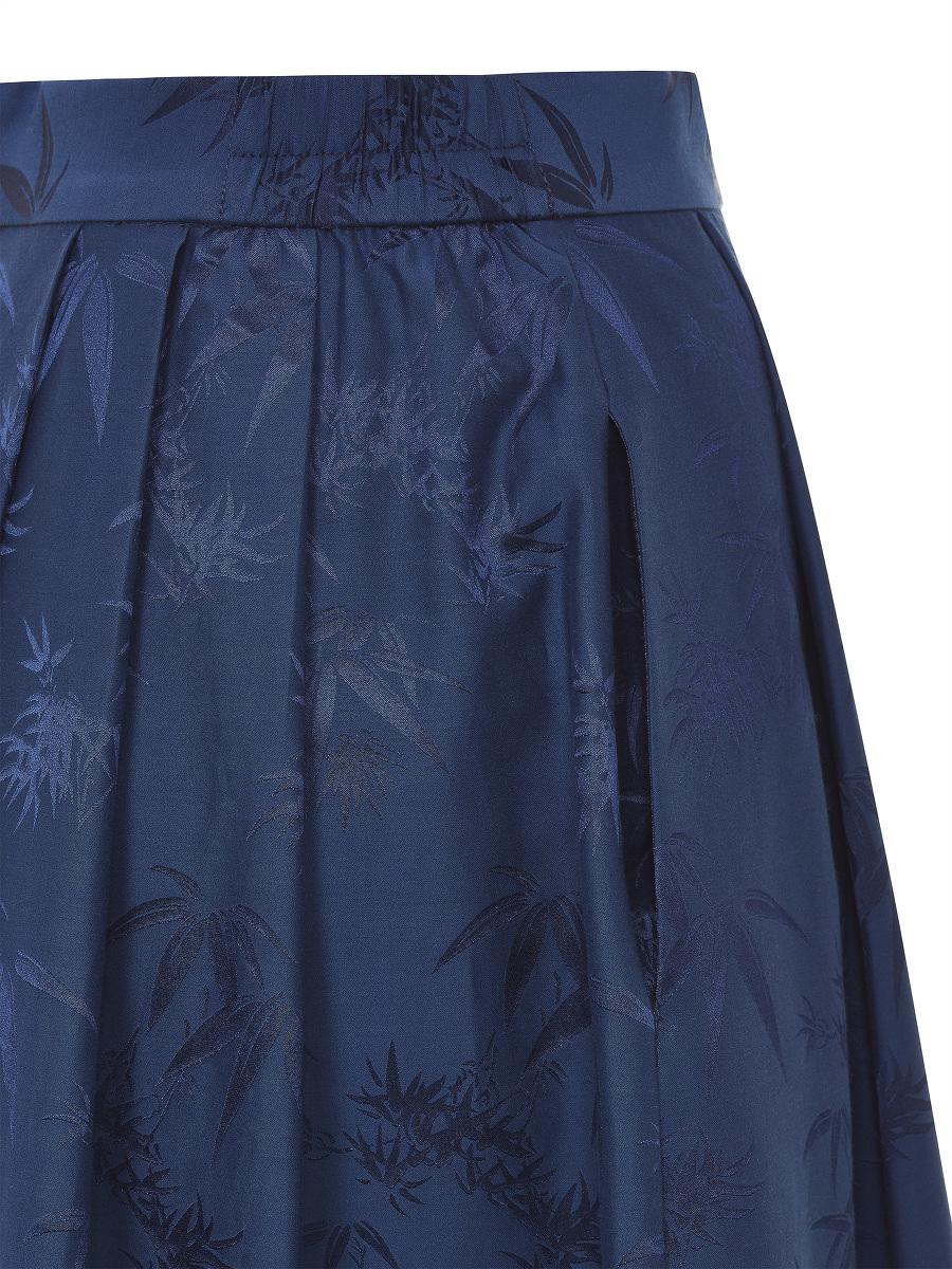 Bamboo Jacquard Flared Maxi Skirt