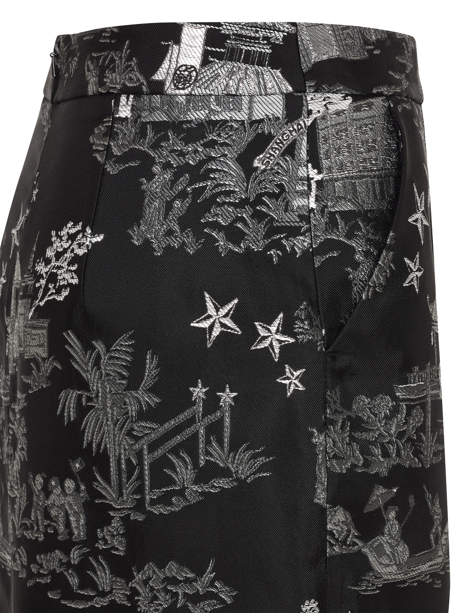 Chinoiserie Jacquard Pencil Skirt