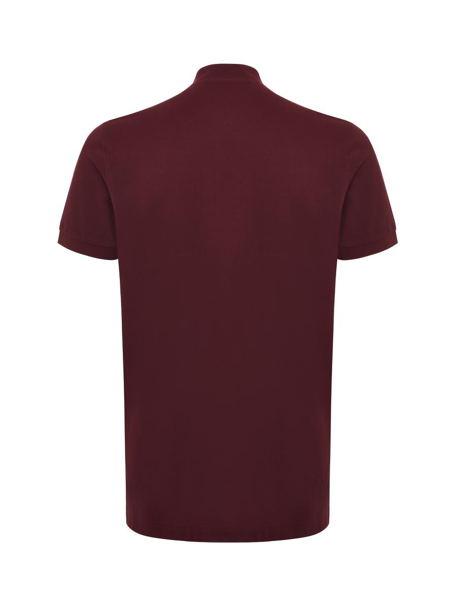 Motif Embroidery Mandarin Collar Polo Shirt