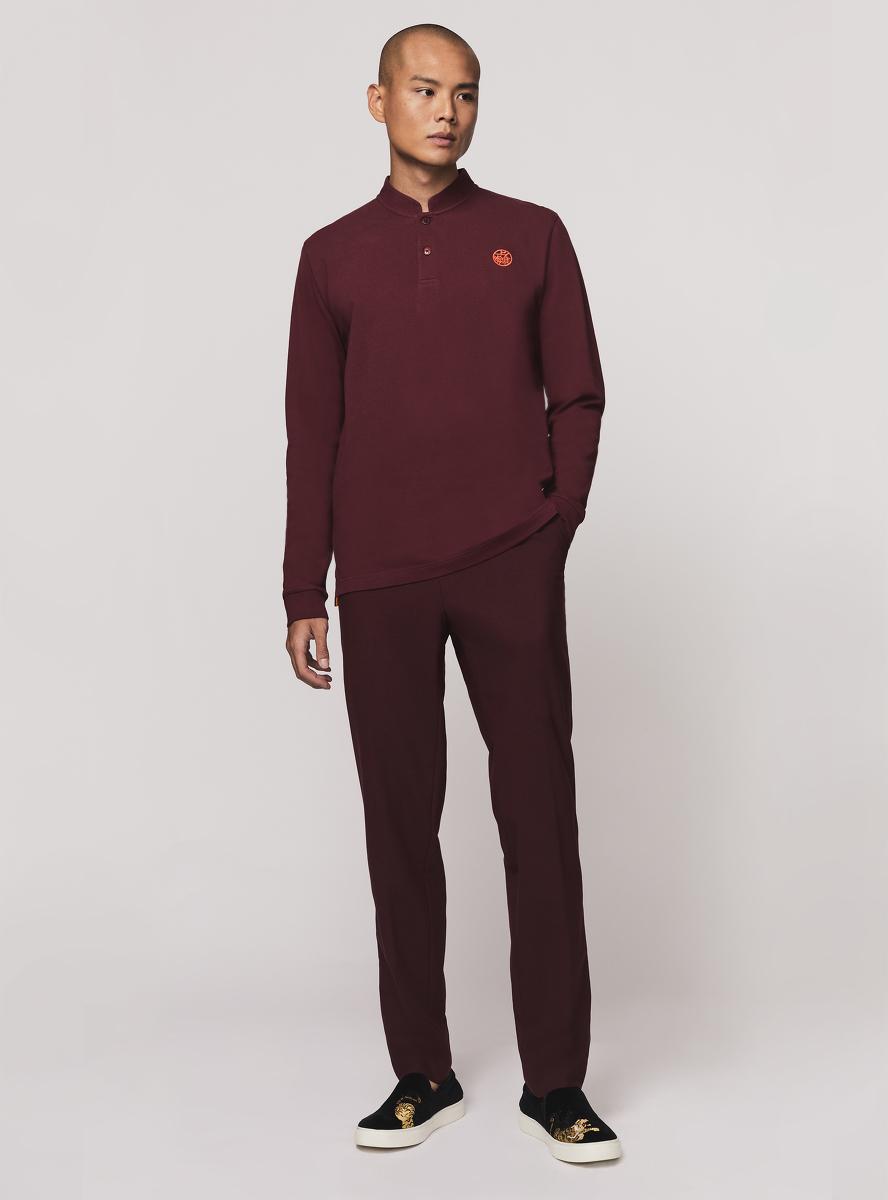 Motif Embroidery Long Sleeve Polo Shirt