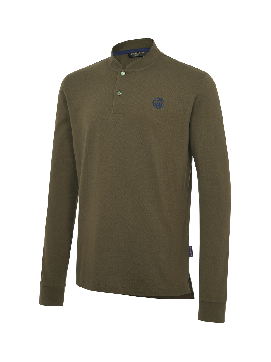 Motif Embroidery Long Sleeve Polo Shirt