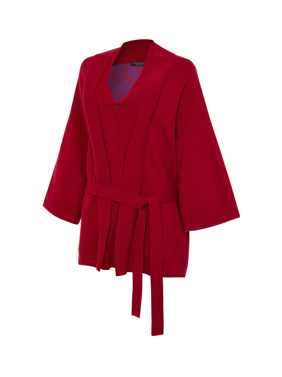 Wool-cashmere Kimono Cardigan with Chinoiserie Silk Lining