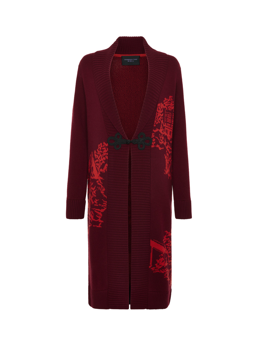 Chinoiserie Intarsia Frog Button Wool Cardigan