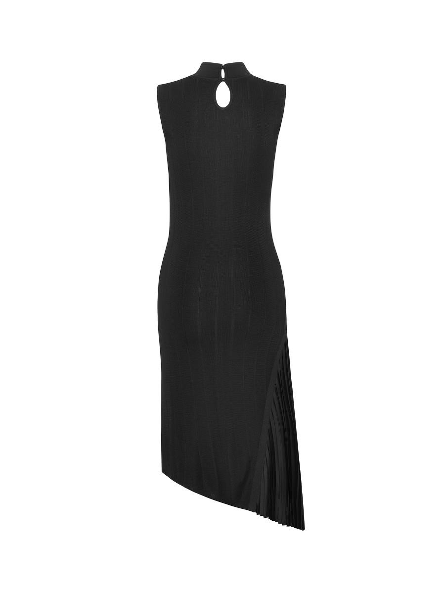 Pleated Satin Insert Knit Dress
