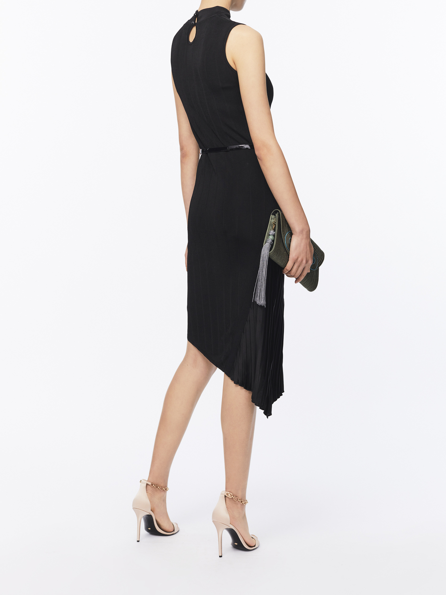 Pleated Satin Insert Knit Dress