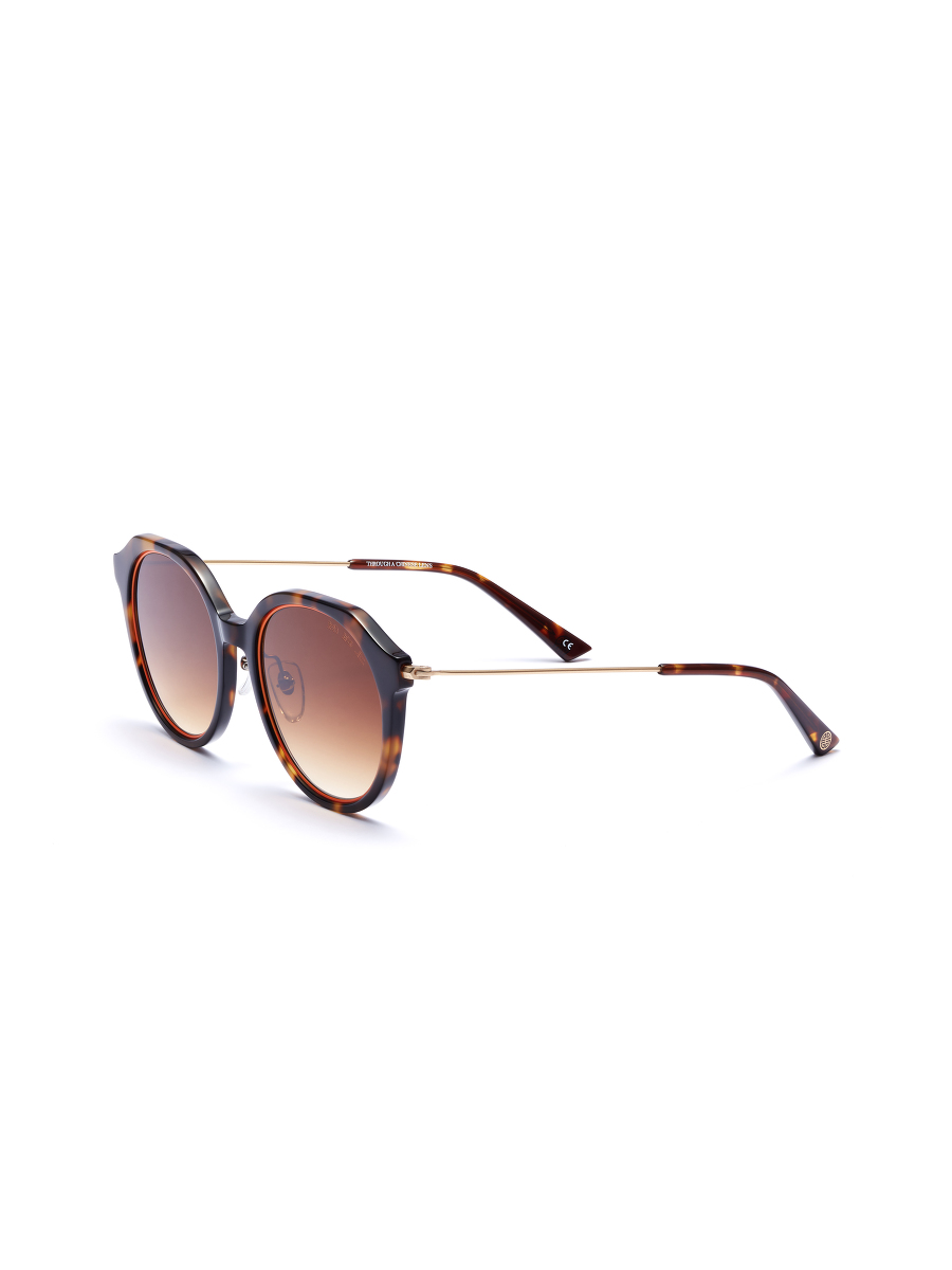 'Spotlight' Metallic Trim Round Sunglasses