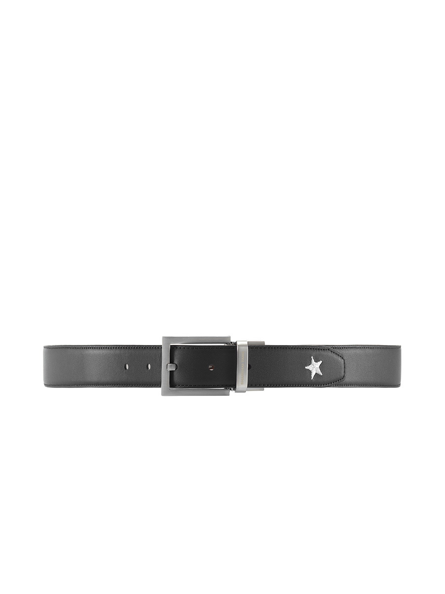 Star Embroidery Reversible Leather Belt