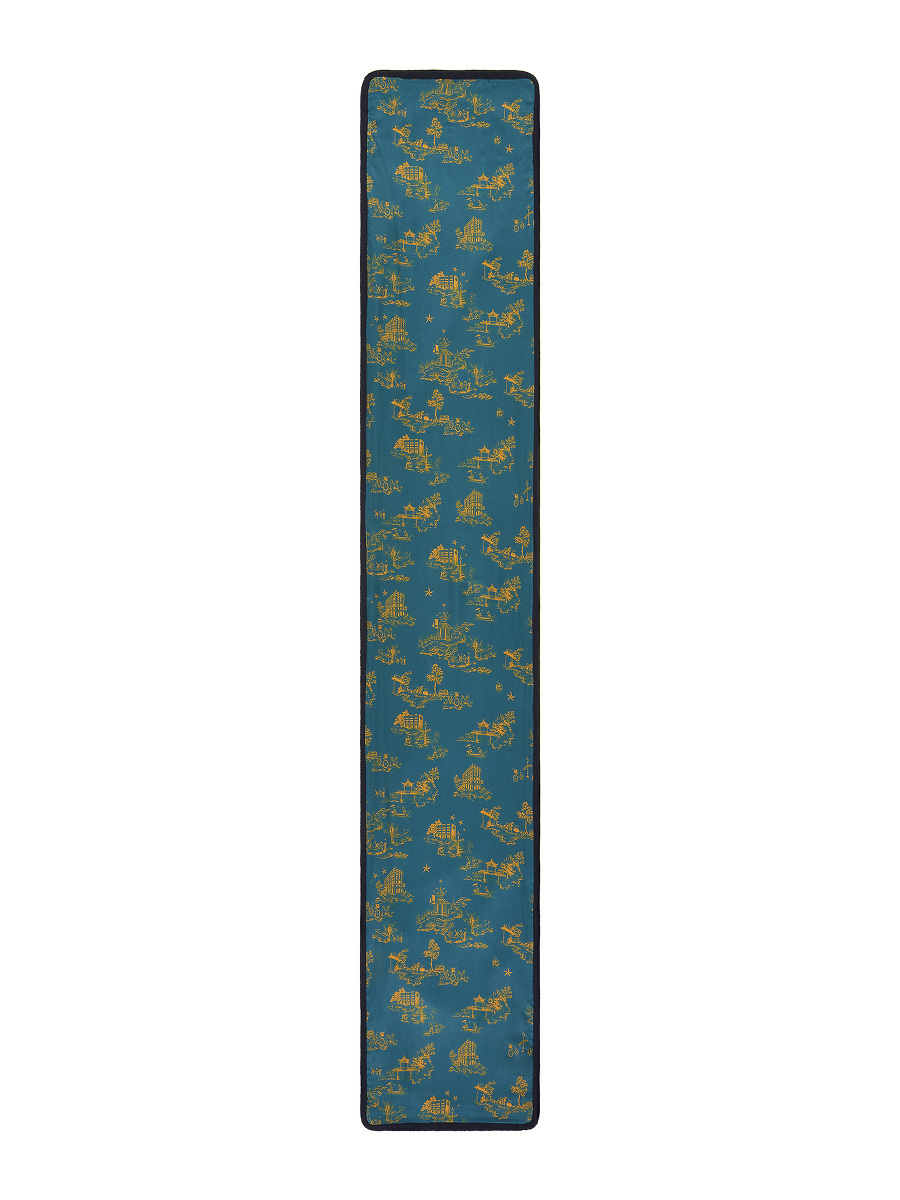 Chinoiserie Print Silk Panel and Knit Double-sided Scarf